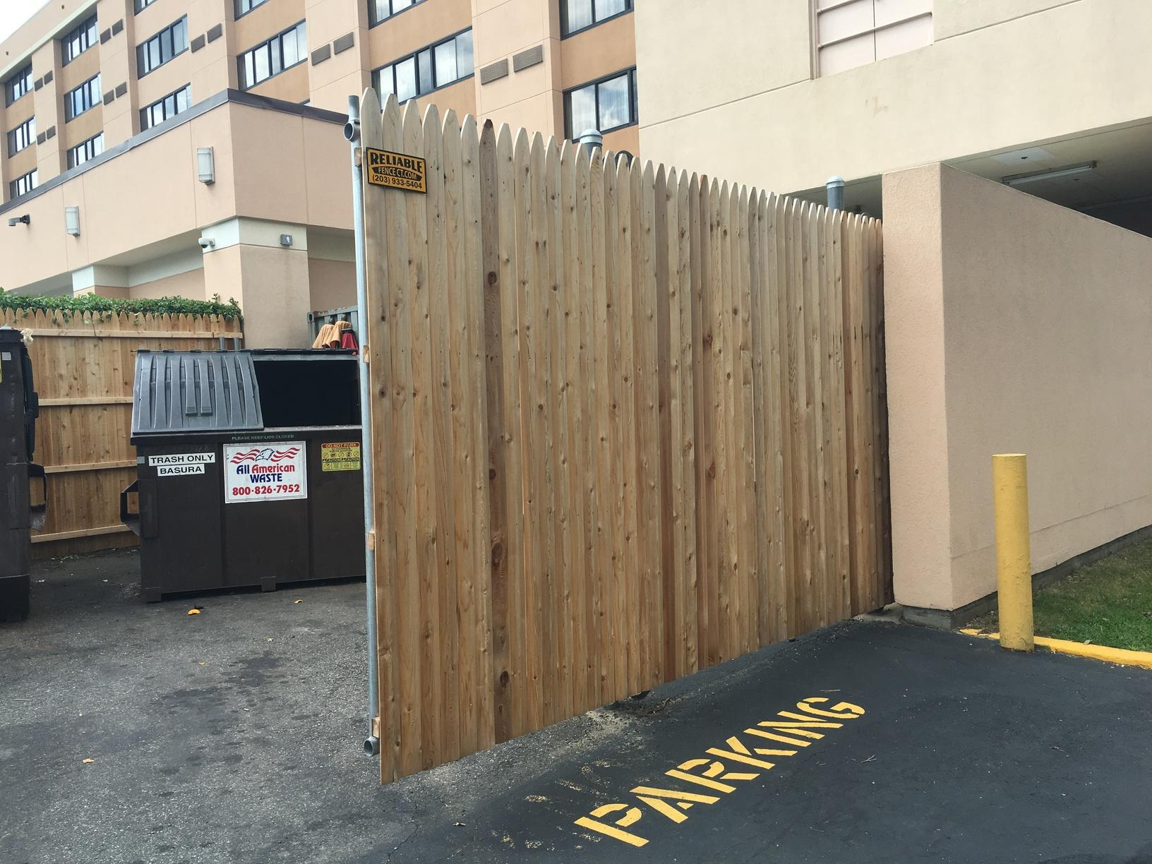 Commercial Wood Fence Project in Shelton, CT