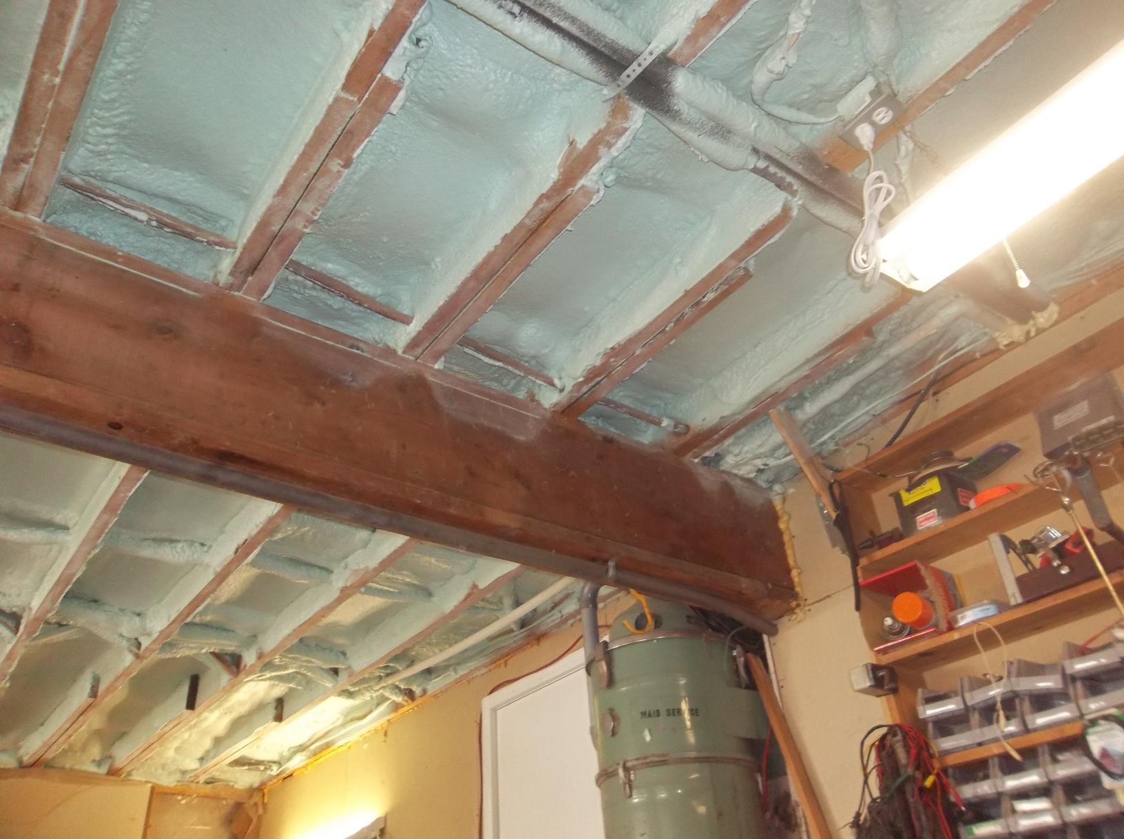 Garage Ceiling with newly installed Spray Foam Insulation