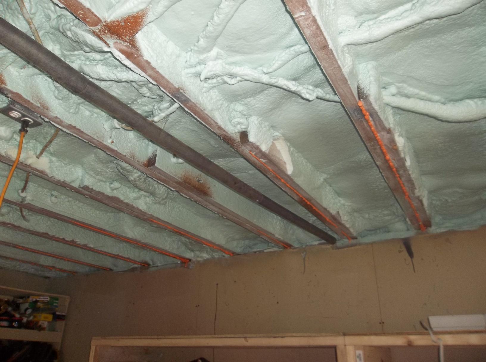 Garage Ceiling Insulated with Spray Foam