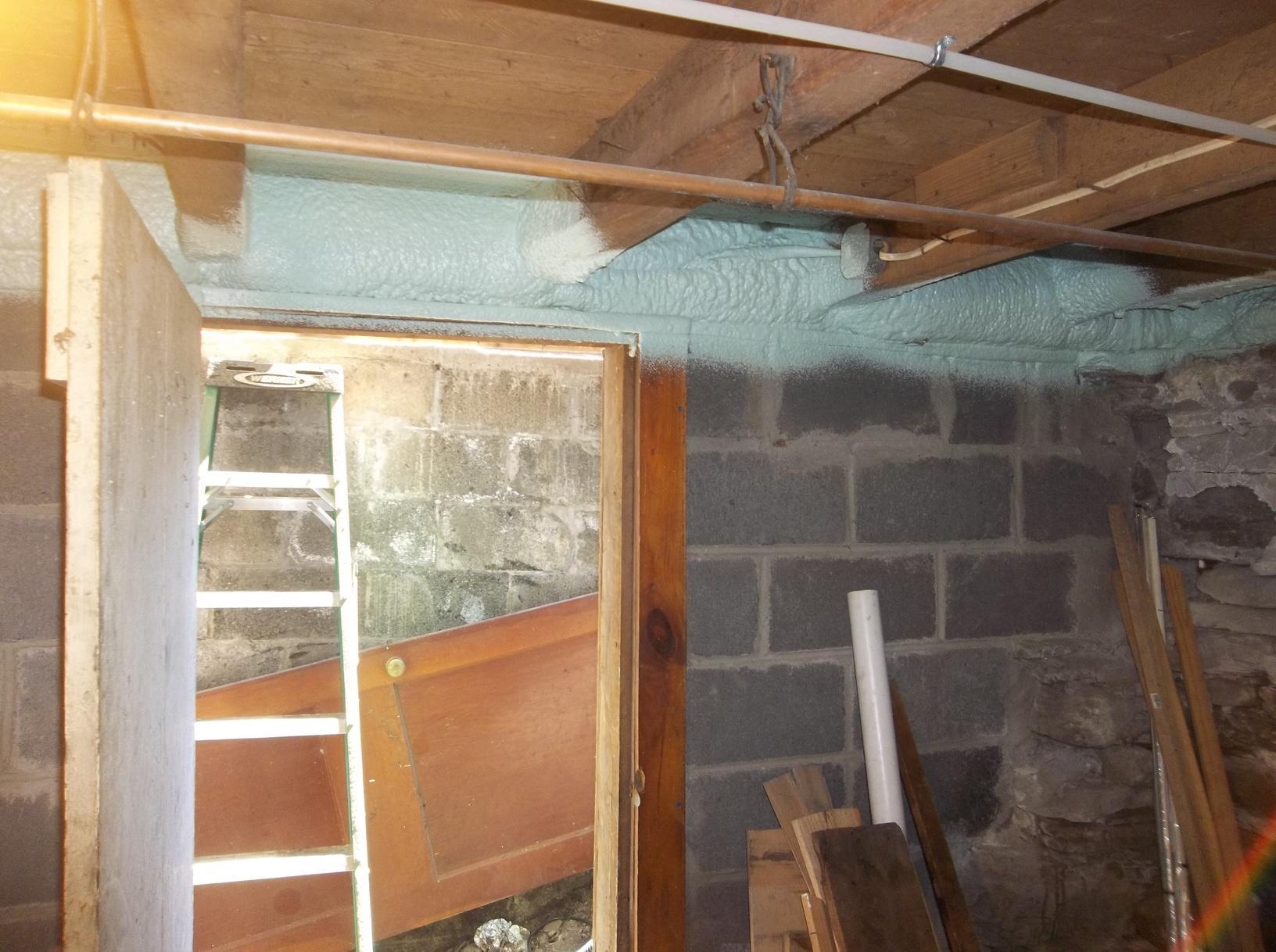 Rim Joist Insulated with Spray Foam