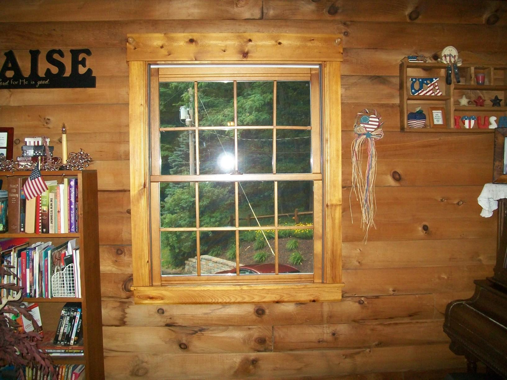 Interior view of wood double hung Energy Swing Window installed in Scenery Hill.