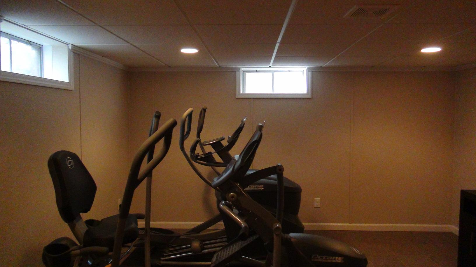Workout area in the basement