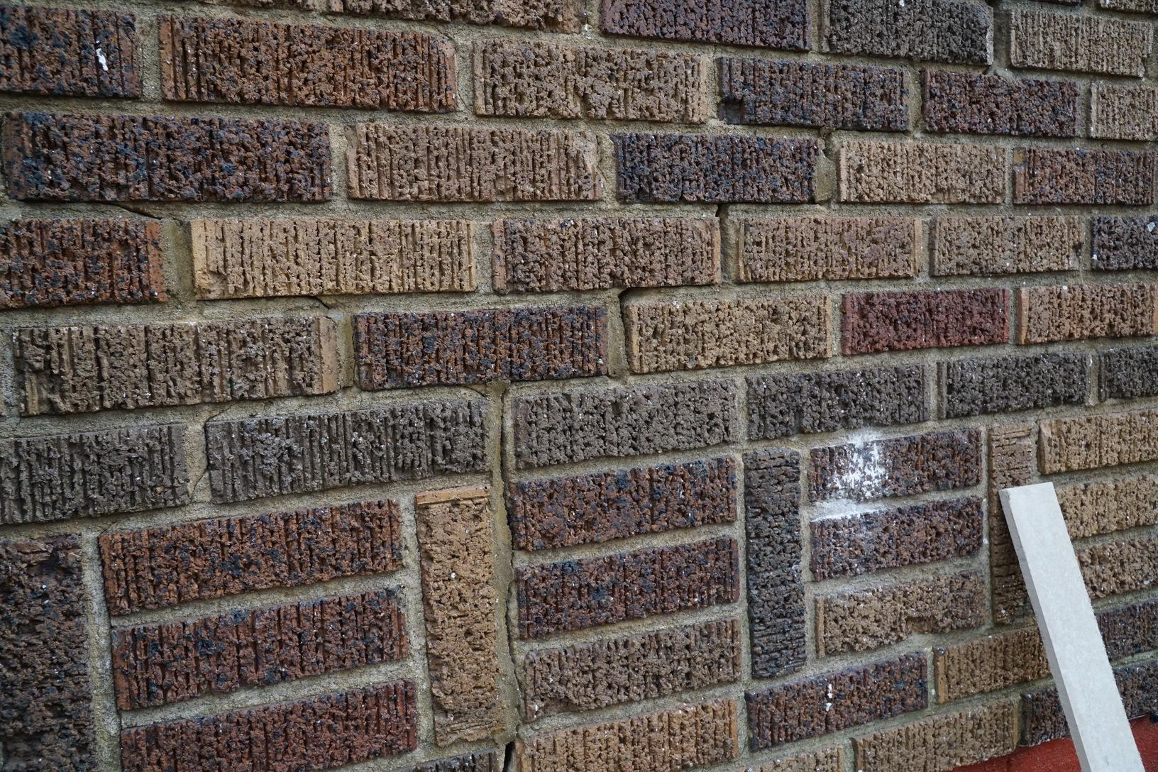 Stair step cracking in the brick exterior