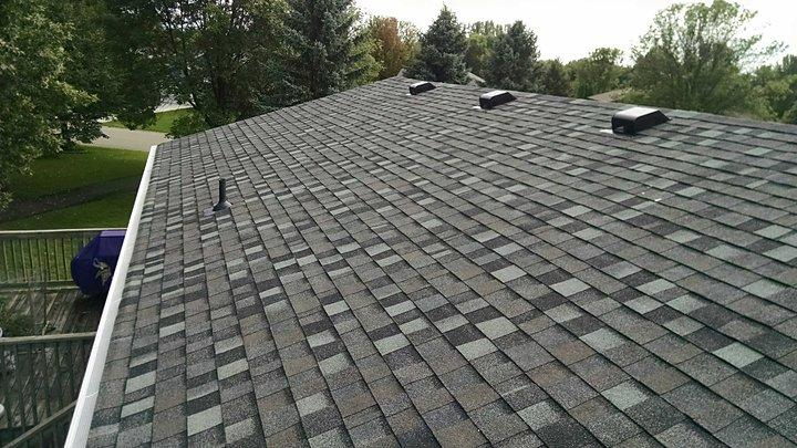 New shingles after being installed