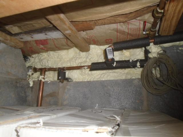 Rim joist insulation in drafty crawlspace in Penfield, NY