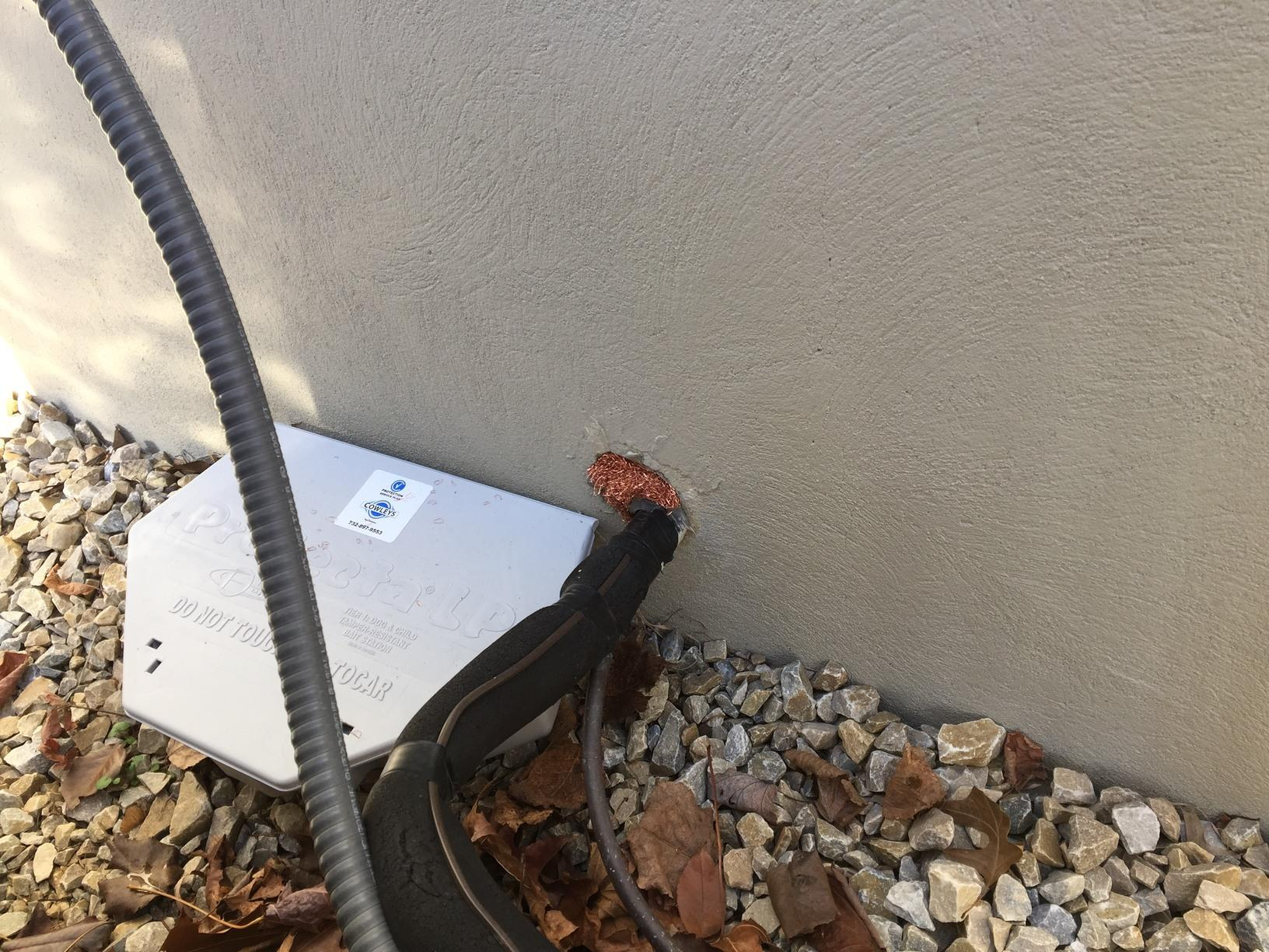 Using copper mesh to seal gap from rodents