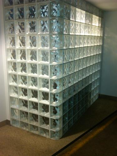 Glass Block Wall in Pittsburgh Office Building