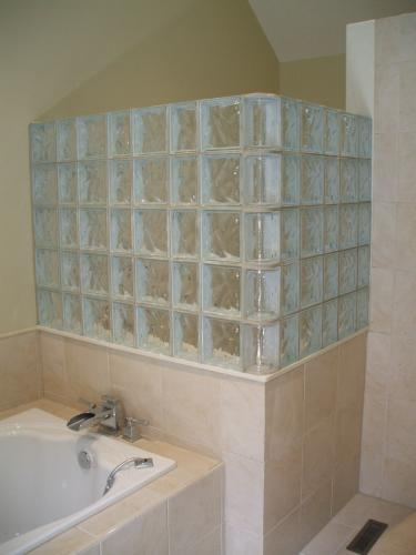 Glass Block Installation for Shower with Tub in Fredericksburg