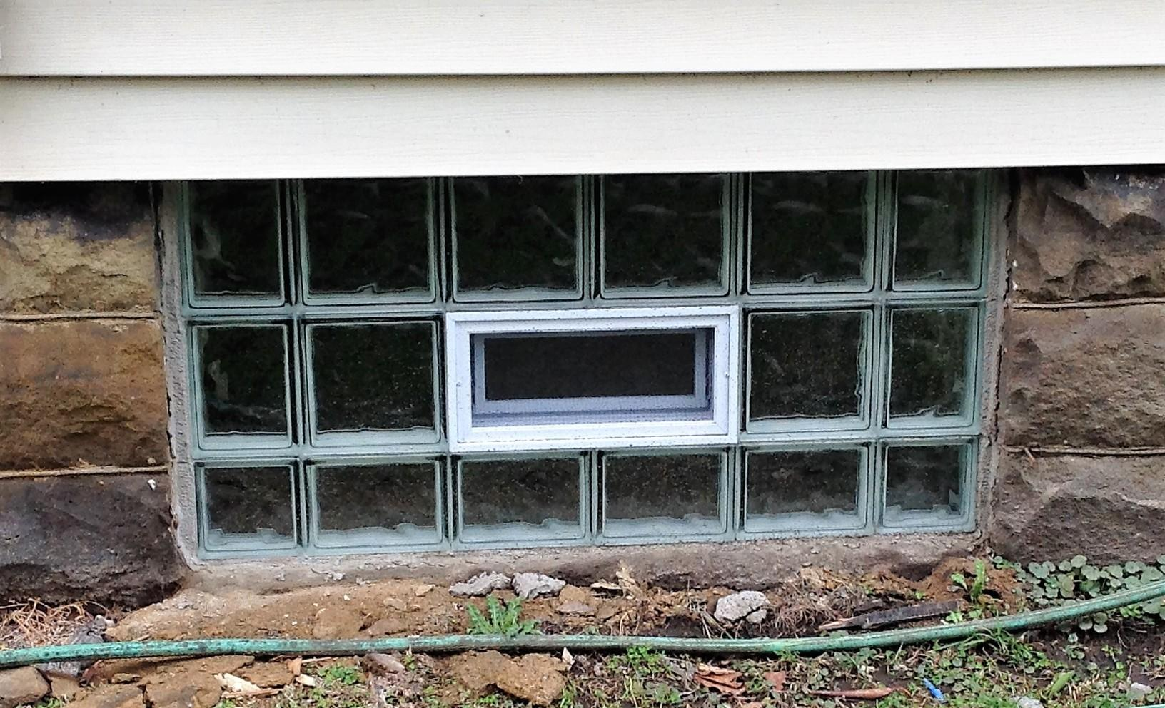 Glass Block Basement Window Installation in Ellwood City