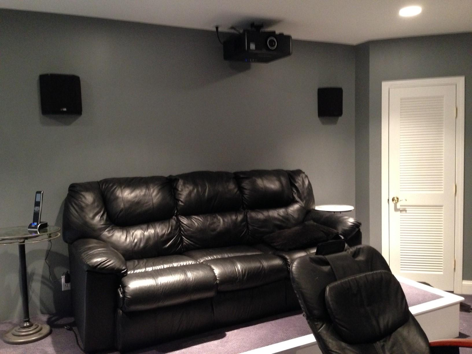 Back of theater room with projector, seating and surround sound
