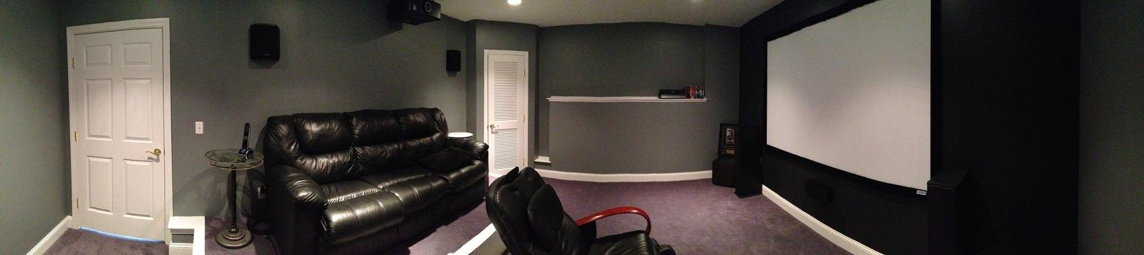 Panoramic view of home theater room installation