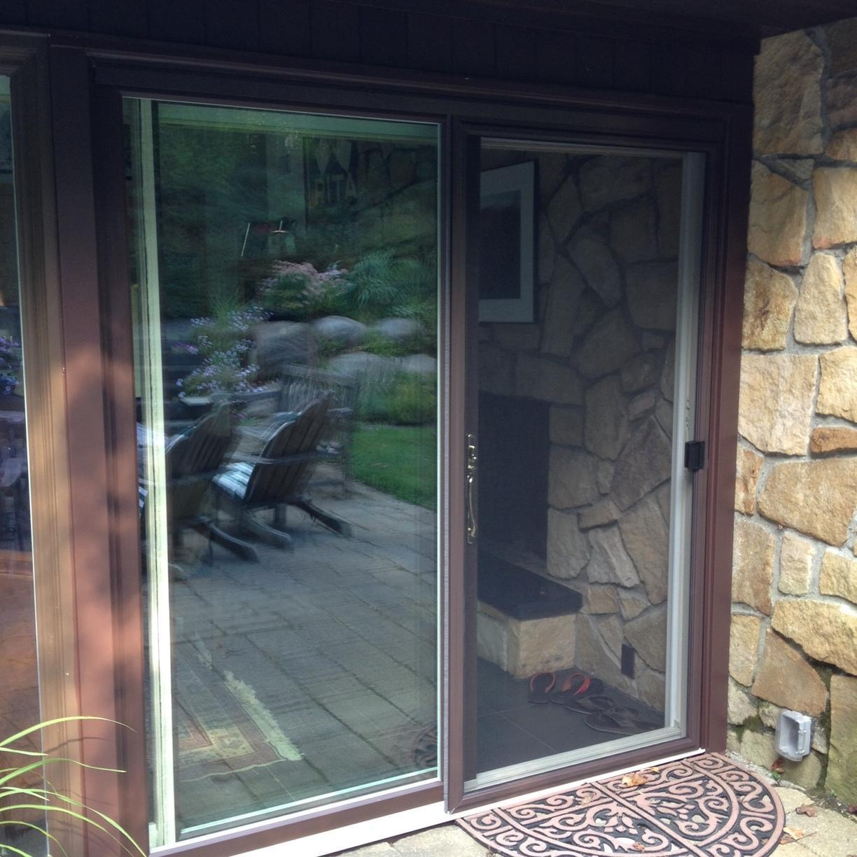 Infinity Fiberglass Sliding Patio Door from Marvin Bahama Brown Exterior Bernardsville, NJ - Triple