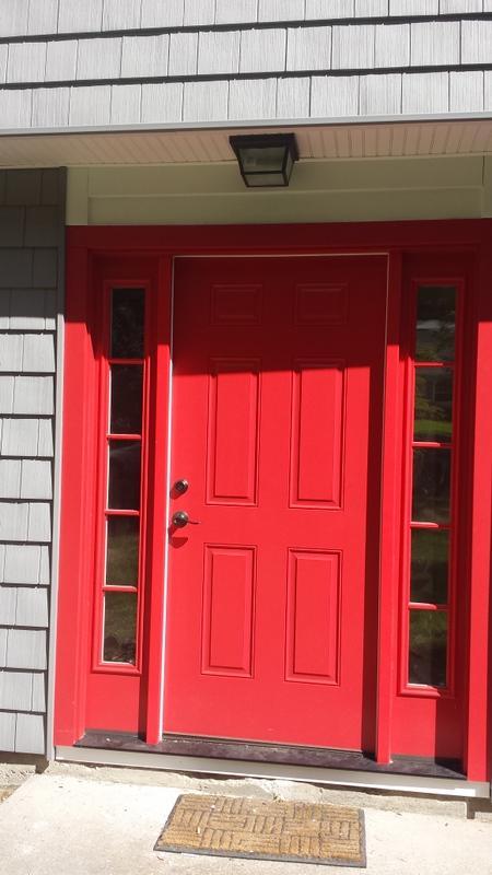 Therma Tru Front door in Red Installed in Stamford