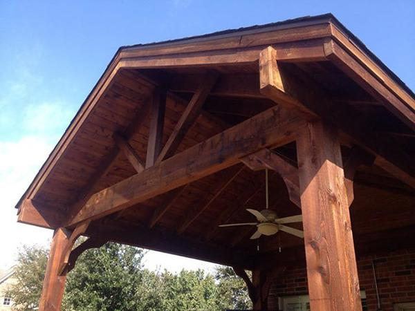 Close up view of the patio structure