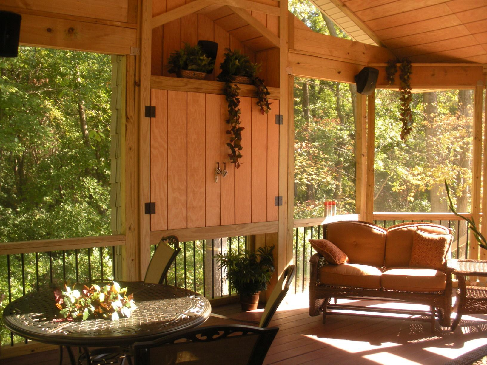 Comfortable seating inside the porch