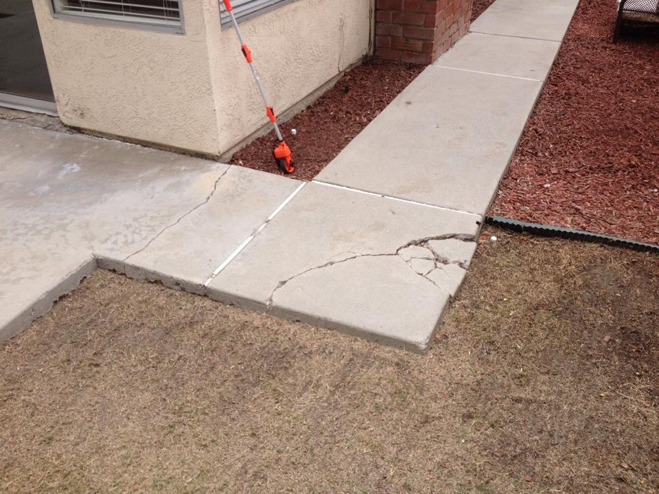 Cracked and Sunken Concrete Irvine, Ca.