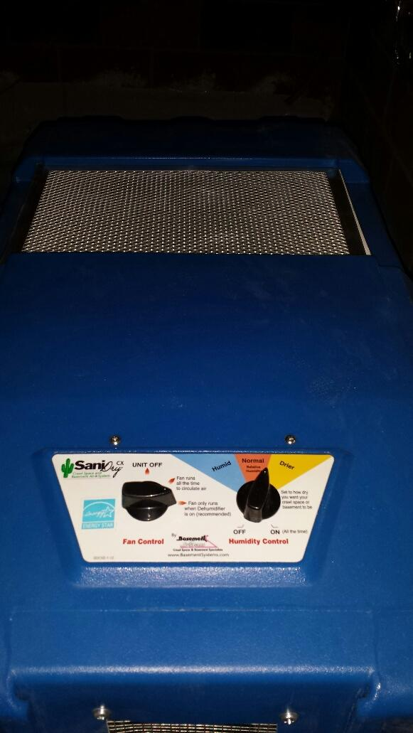 Close up of dehumidifier
