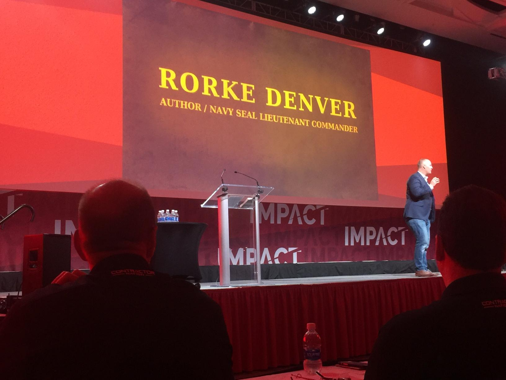 Navy Seal, Rorke Denver, delivers his best Hooyah to the crowd