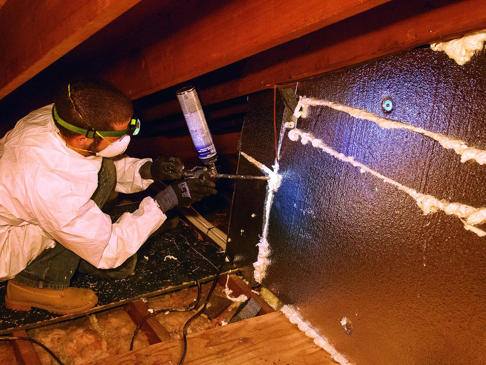 Sealing rigid foam insulation seams