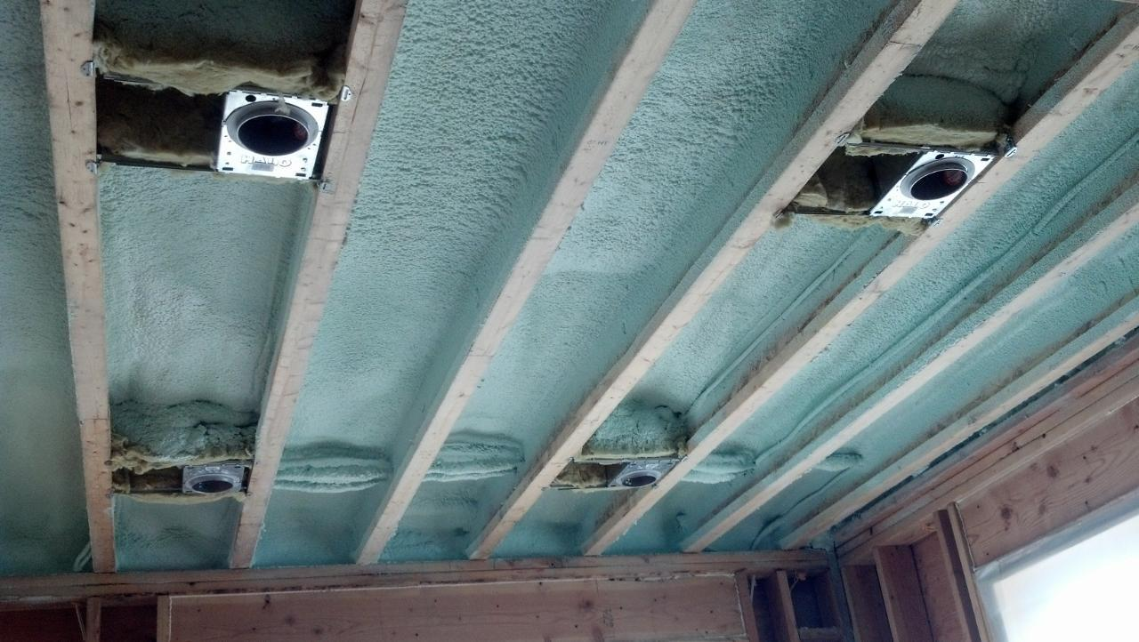 Recessed lights and spray foam insulation