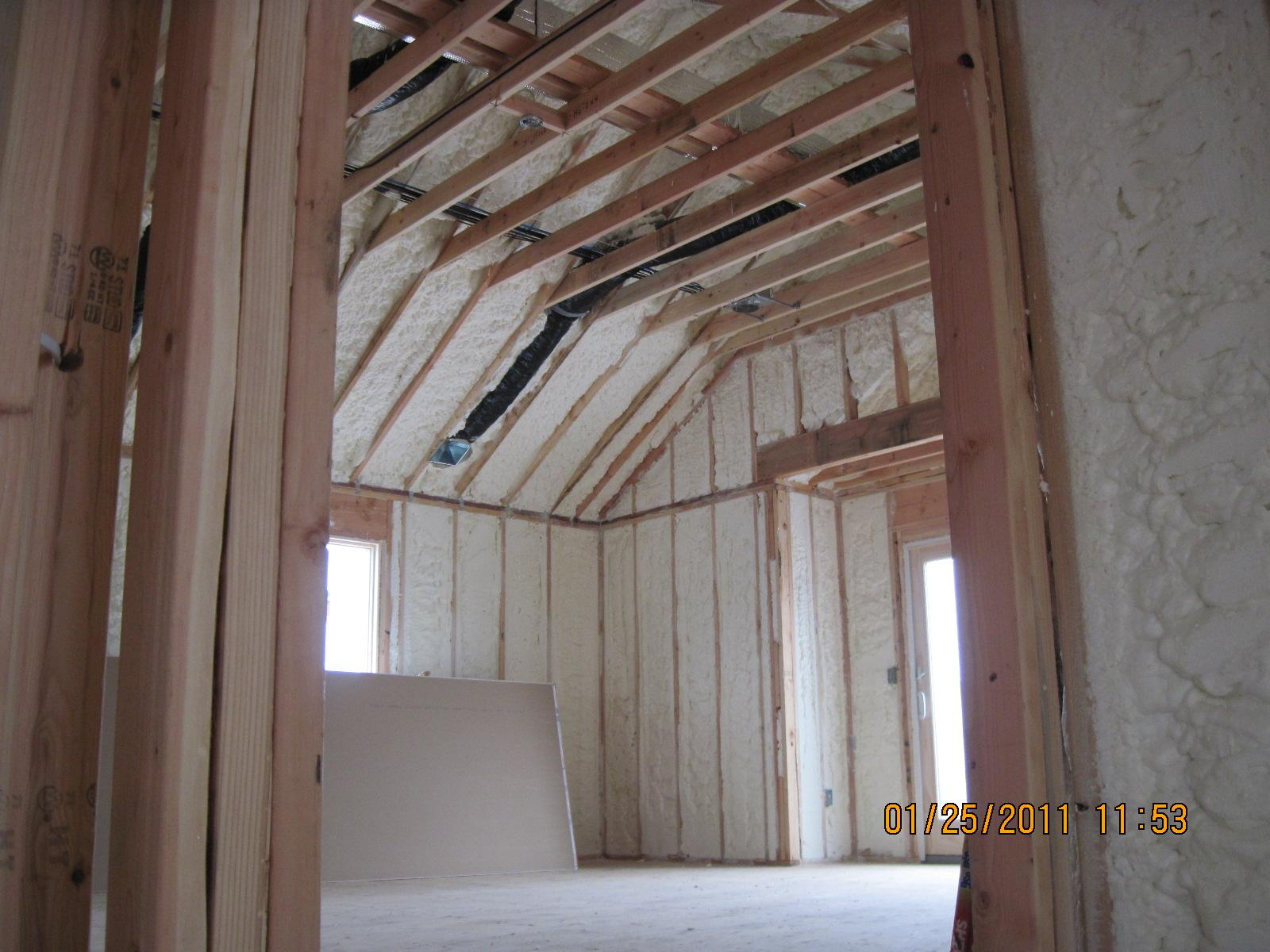 Ceiling slopes insulated perfectly!