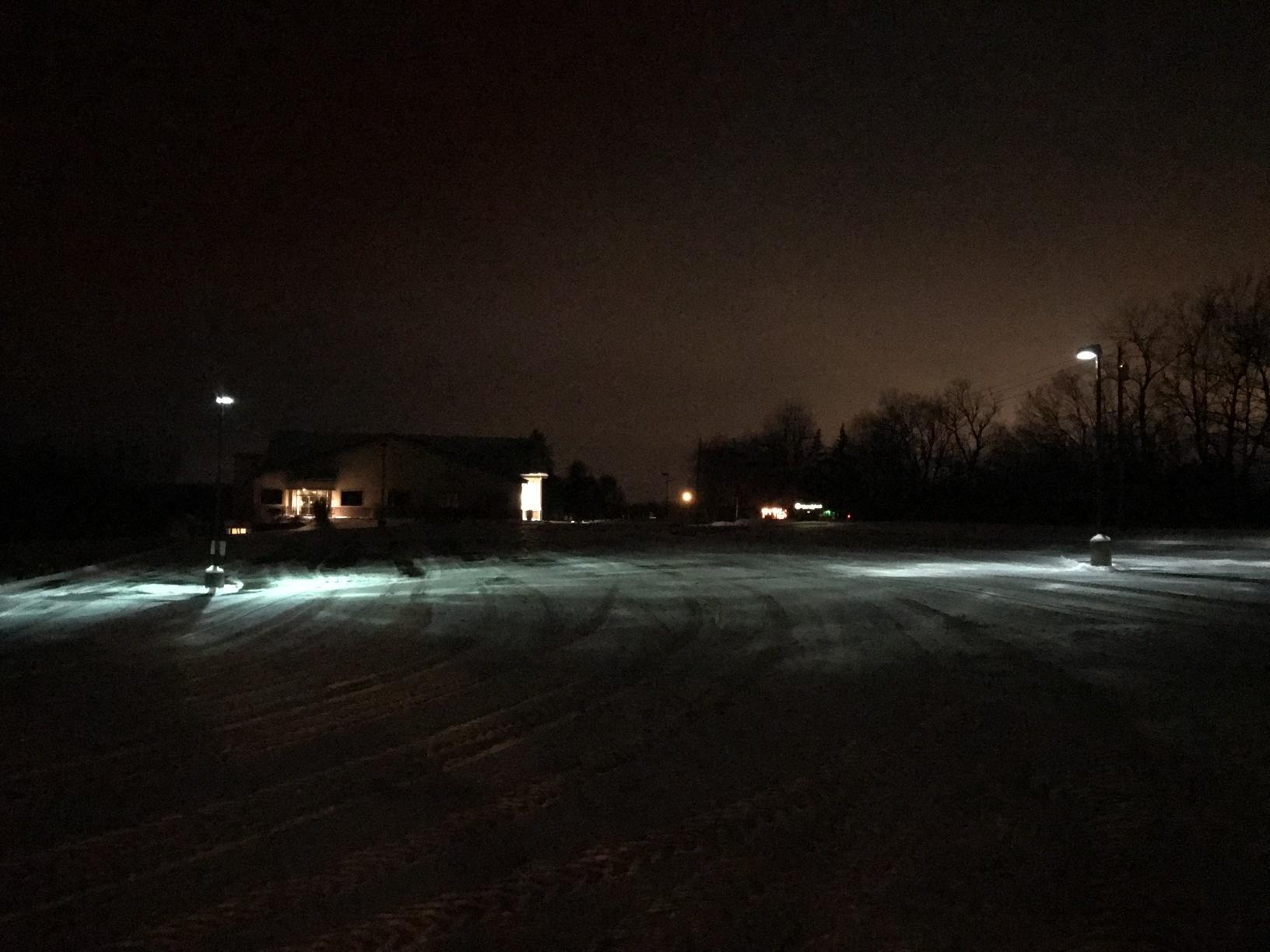 Parking lot lighting before at Palmyra, NY church