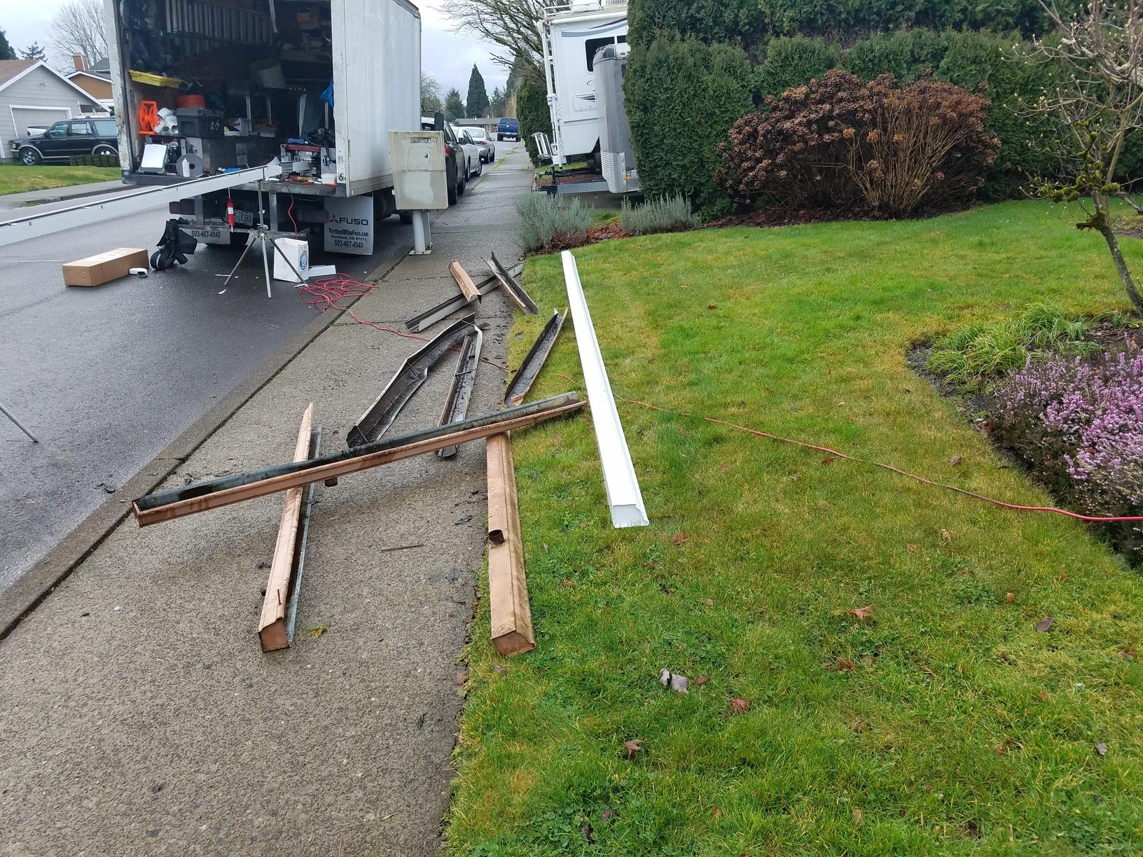 Seamless gutters being fabricated on site in Port Townsend, WA