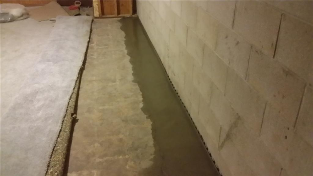 Completed Basement Waterproofing System