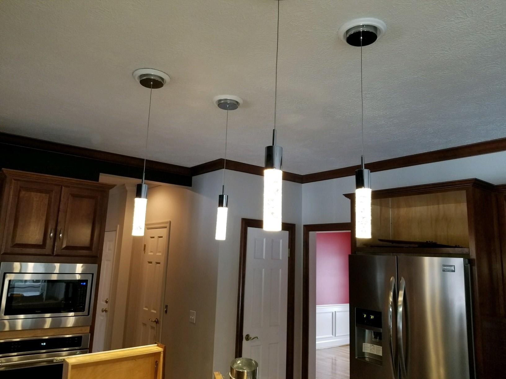 Pendant lighting in kitchen area