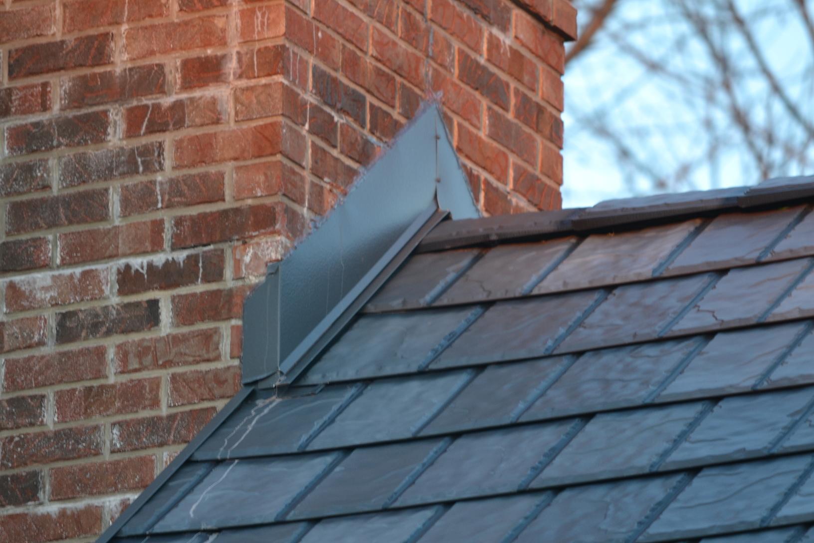 Chimney Flashing on Steel Slate Roof