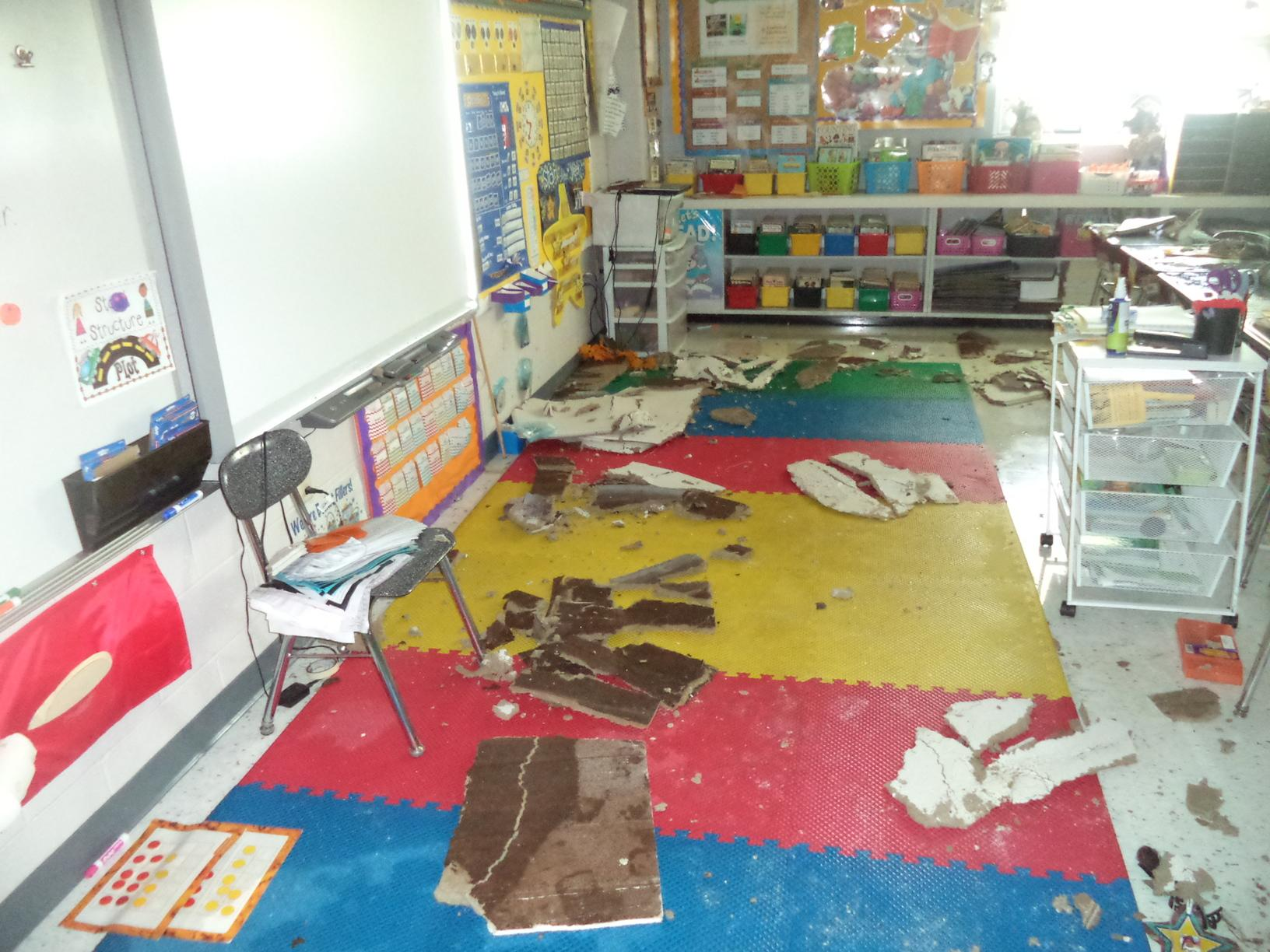 RCS worked diligently to remove all the damaged material and broken ceiling