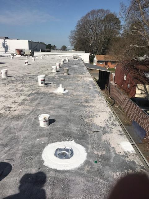 Unfinished Roof Coating Installation