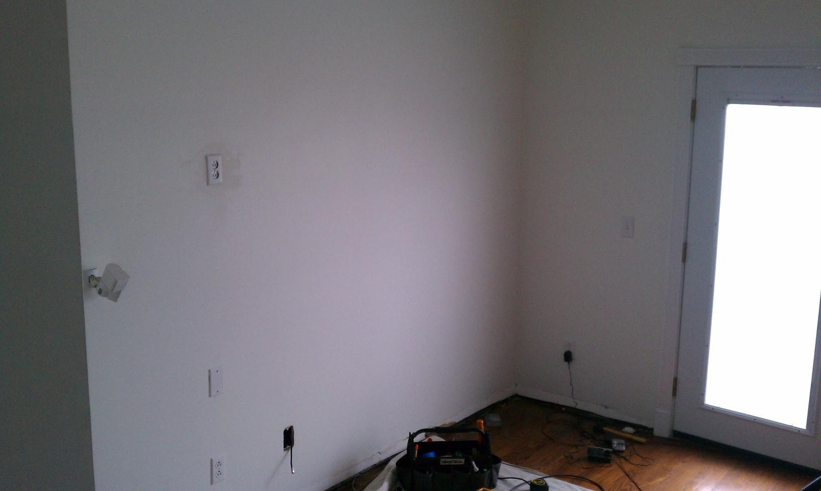 Just an empty wall getting prepped for new flatscreen