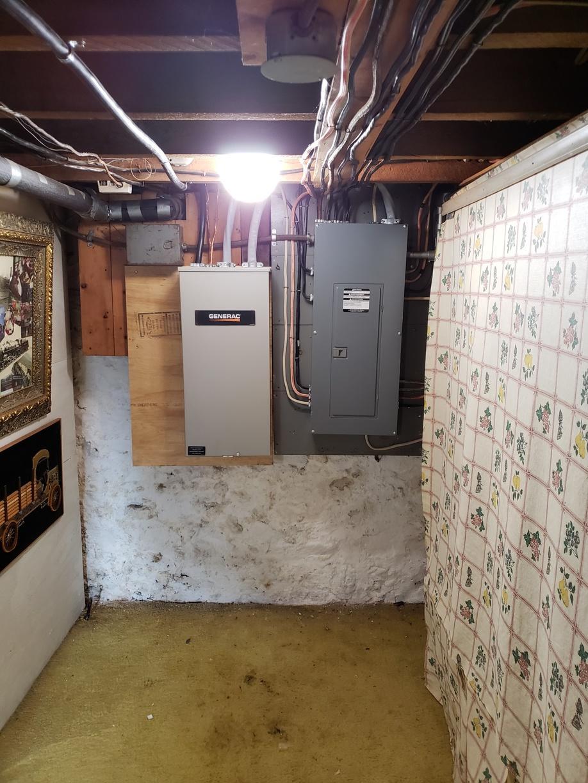 Basement transfer switch installed