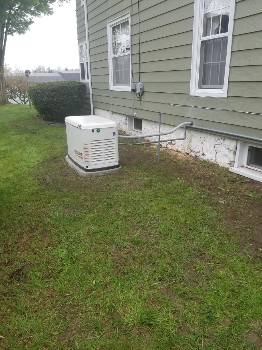 Final installation of a new 16kw Generac generator in Marion, NY