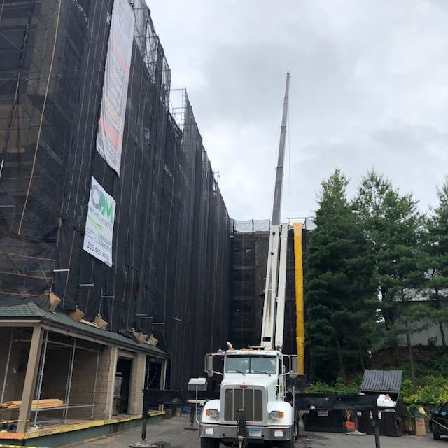 Crane for Demo at Commercial Building in Norwalk, CT