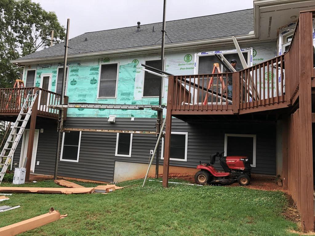 Progress of Installing New Siding