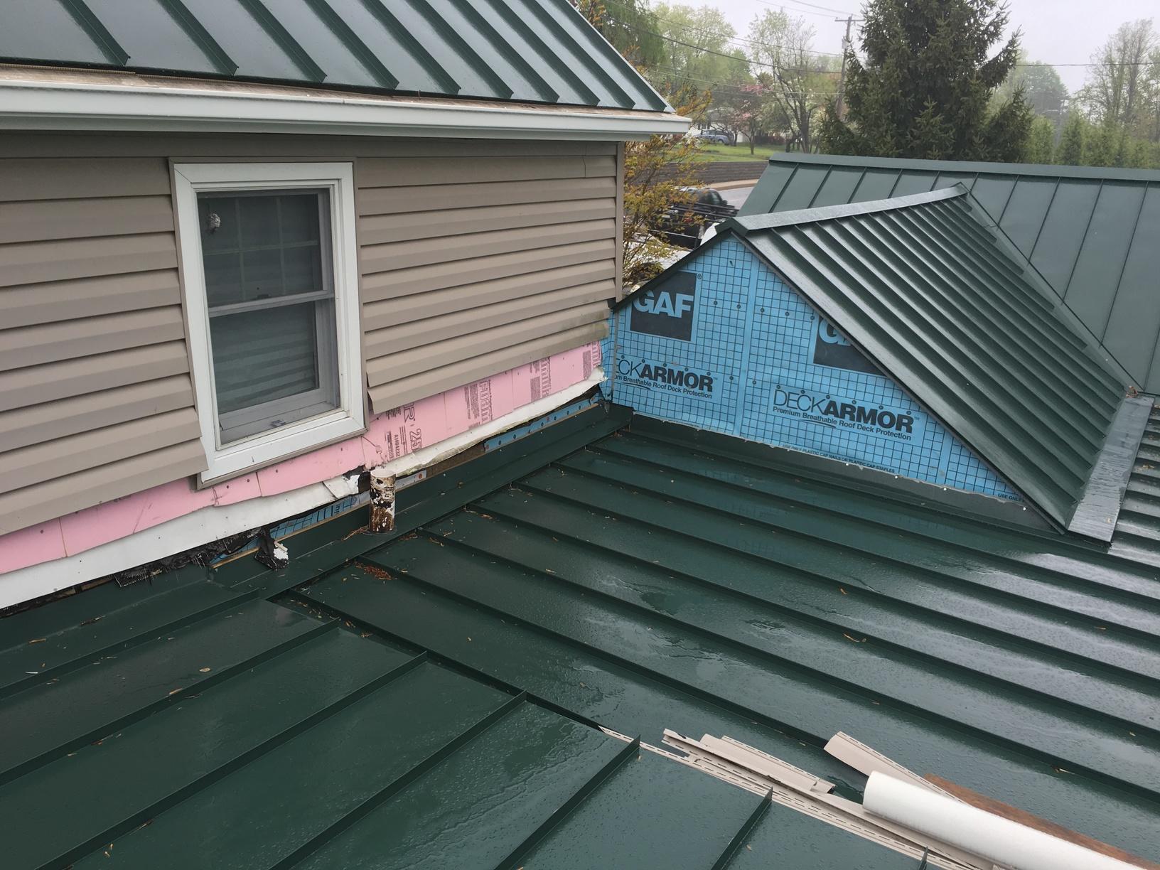 Progress Photo of Hartford Green Standing Seam Metal Roof Installation in Bensalem, PA
