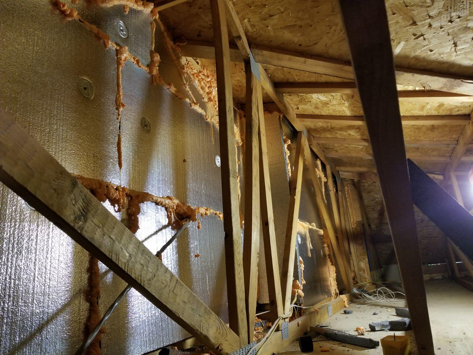 SilverGlo Applied to Attic Adjacent Wall