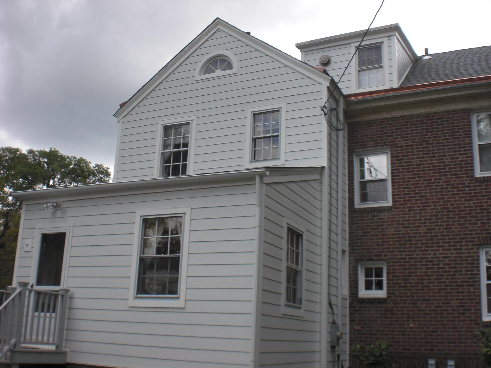 Quarry Grey Owens Corning Duration Shingles with Storm Guard and Copper Flashing and White Hardie Plank Fiber Cement Siding Installation in Broomall, PA