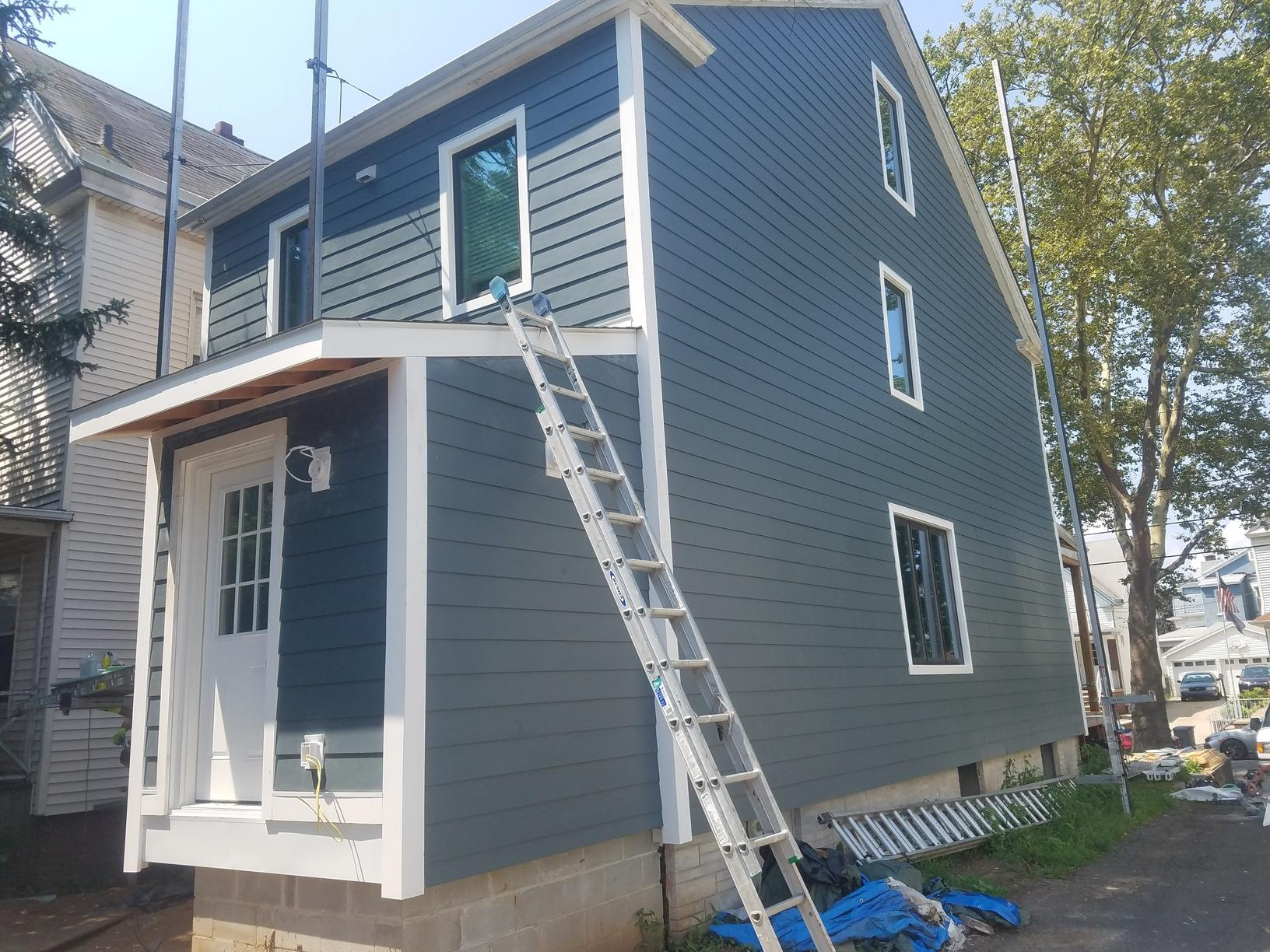 Evening Blue James Hardie Fiber Cement Smooth Plank Install in Bayonne, NJ