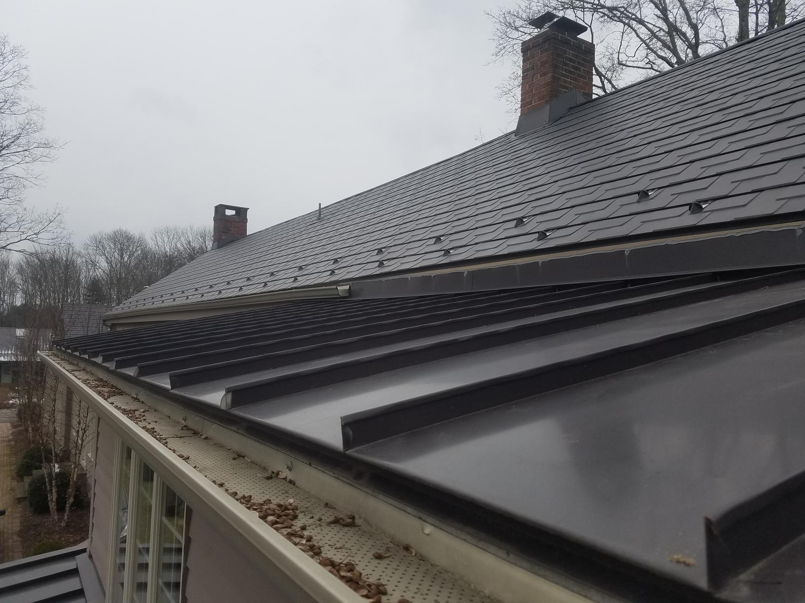 Char Brown Steel Slate and Standing Seam Metal Roof Install in Frenchtown, NJ