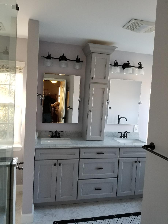 Double Vanity - Ocean Grey Cabinets
