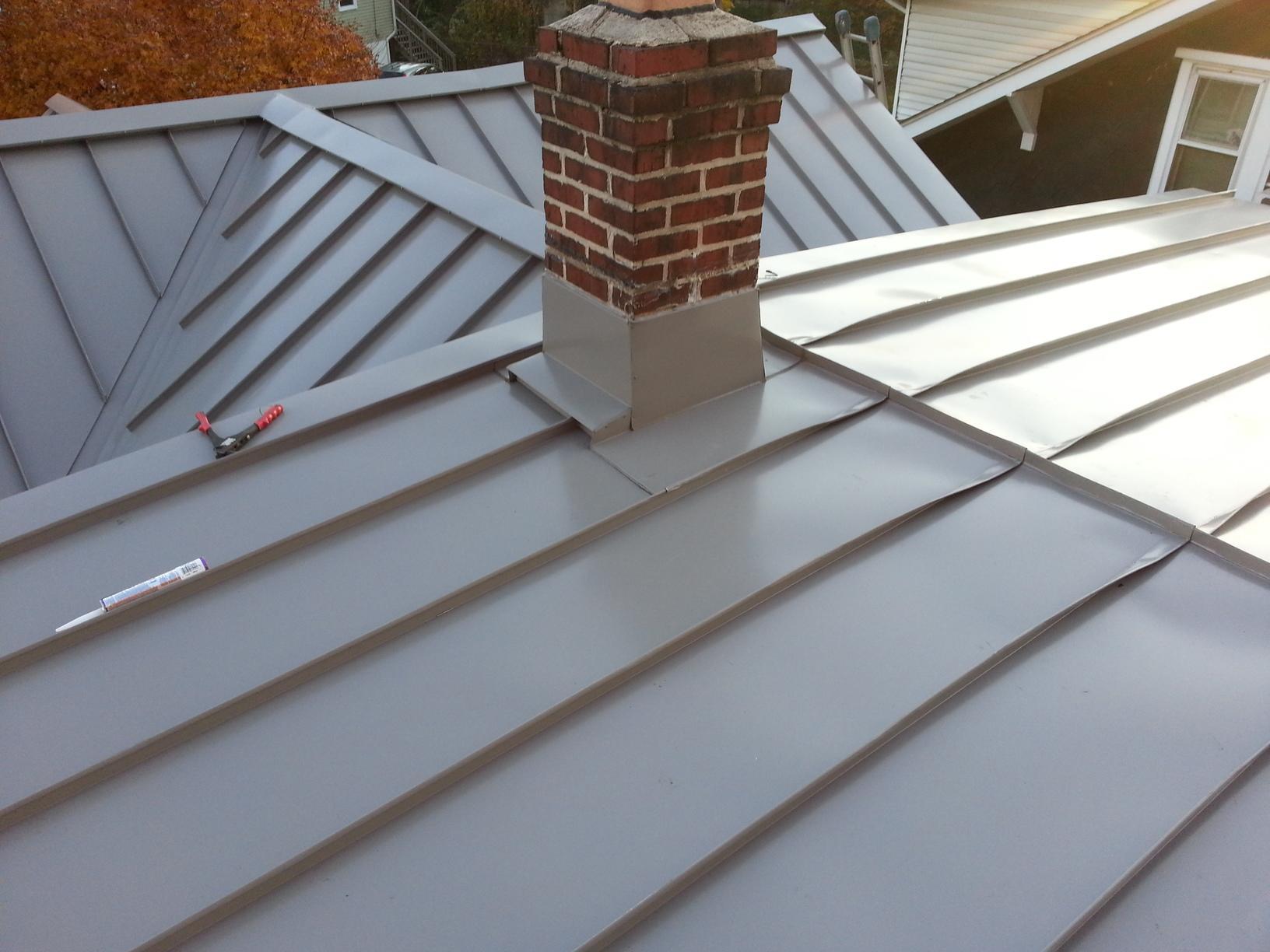 Standing Seam Metal Roof with Custom Chimney Flashing in Oaklyn, NJ