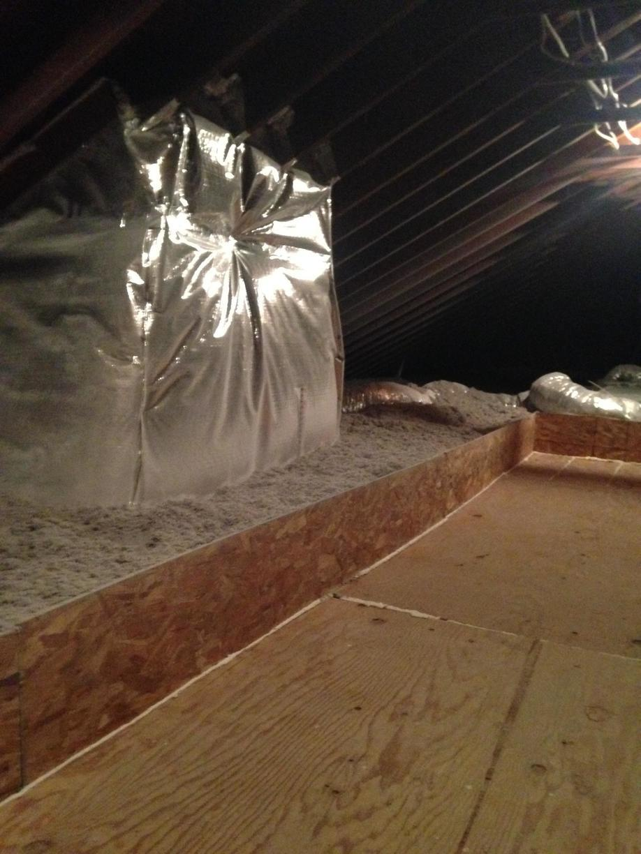 Cellulose Insulation, Cat Walk and Insulated Sky Light Enclosure