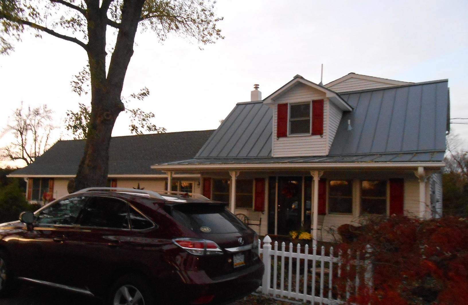 Drexel Preweathered Standing Seam Metal Over Main Home and Porch on Home in New Hope, PA