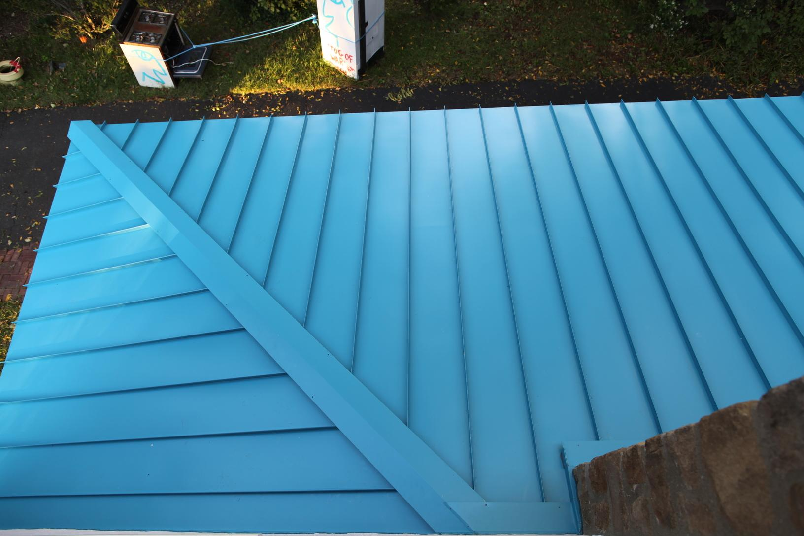 Above View of Pacific Blue Standing Seam Metal Roof