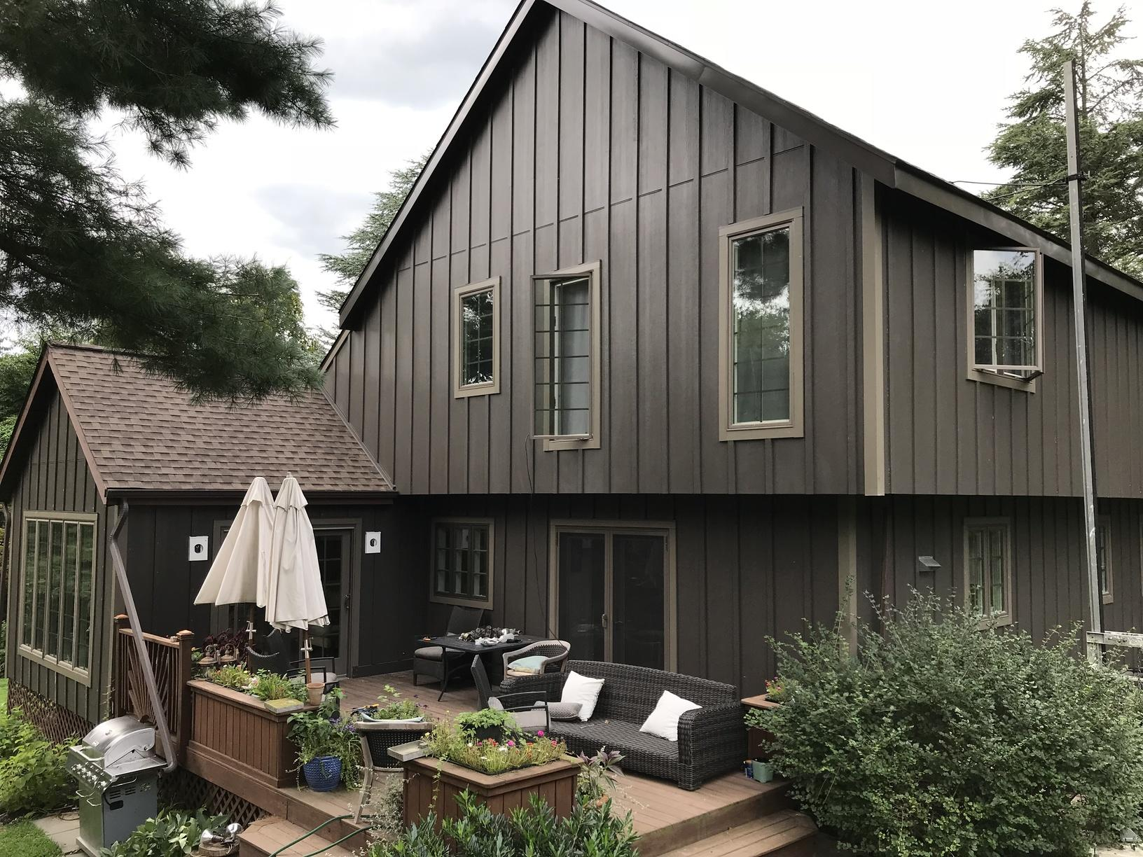 Installing Rich Espresso James Hardie Vertical Siding and Replacing Windows, Patio Door, and Trim in Doylestown, PA