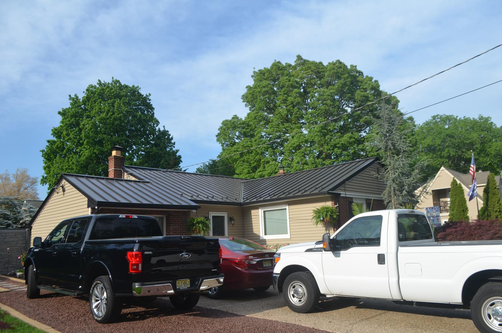 Metal Roof and  GlobalTech Premium Charter Oak Tuscan Clay Insulated Vinyl Siding Installation in NJ