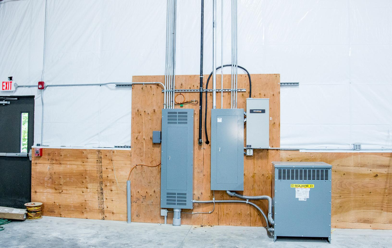 Main and sub panels with transformer Installed